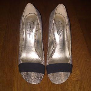 Snake skin peep toe heels